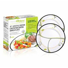 Healthy Lifestyle Nutrition and Portion Control Dinner Plate (Set of 2)
