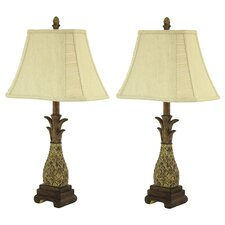 """Shawn Pineapple 26"""" H Table Lamp with Bell Shade (Set of 2)"""