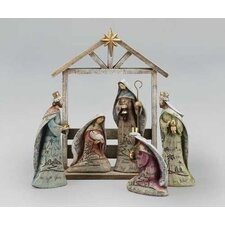 6 Piece Nativity with Stable Figurine Set