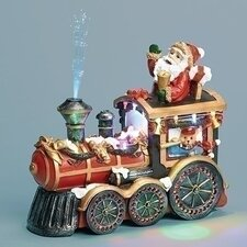 Musical Santa in Train Engine Figurine