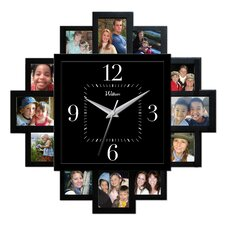 "12 Photo Openings 15.25"" Quartz Wall Clock"
