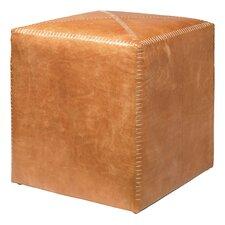 Buff Leather Cube Ottoman