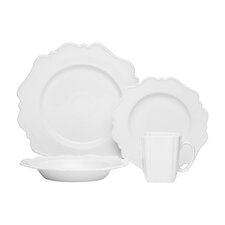 Pinpoint White 16 Piece Place Setting Set