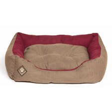 Heritage Houndstooth Snuggle Pet Bed in Red and Brown