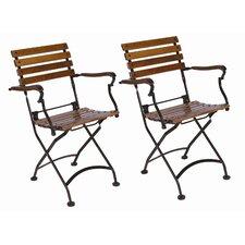 European Café Folding Dining Arm Chair (Set of 2)