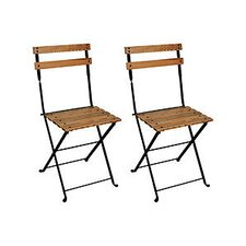 French Bistro European Café Folding Side Chair (Set of 2)
