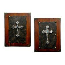 2 Piece Rawhide Resin Cross on Wood Panel Wall Décor