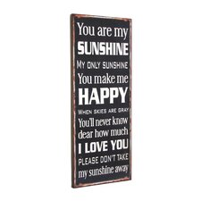 """""""You Are My Sunshine"""" Textual Art Plaque"""