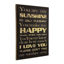 """""""Inspire Me"""" """"You Are My Sunshine"""" Framed Textual Art"""
