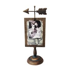 Timberland Cast Iron Arrow Wood/Metal Pedestal Stand with Memo/Photo Clip Picture Frame