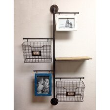 Store It Metal 2-Basket Wall File Organizer with 2 Photo Frame