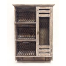 Store It Wood and Metal Mesh Wall Cabinet Organizer