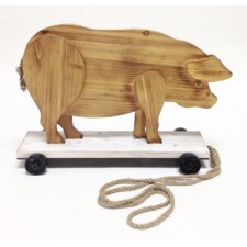 "Smokey Cabin ""Roller Skating Pig"" Wood Pull Toy Statue"