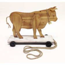 "Smokey Cabin ""Roller Skating Bull"" Wood Pull Toy Statue"