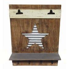 Farm to Table Wood Wall Shelf with Memo Clip and Corrugated Metal Galvanized Star Décor