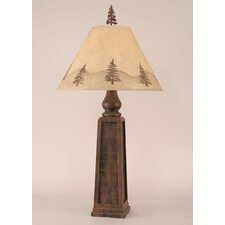 """Rustic Living Pyramid Pot 35.5"""" H Table Lamp with Empire Shade"""