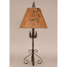 """Rustic Living Iron S-Leg Pine Tree 29.5"""" H Table Lamp with Empire Shade"""