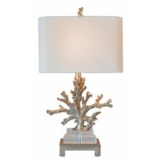 """Coastal Retreat Coral 25.5"""" H Table Lamp with Oval Shade"""