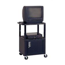 Adjustable Height Audio Visual AV Cart with Cabinet