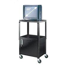 Adjustable Height AV Cart with Locking Cabinet