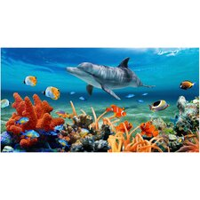 Coral Reef Dolphin Printed Beach Towel