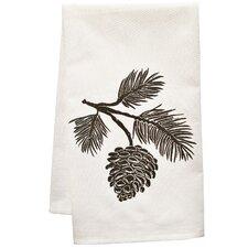 Organic Block Print Pinecone towel