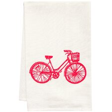 Organic Bike Block Print Tea Towel
