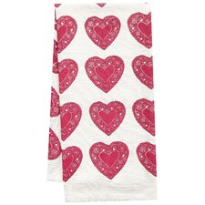 Organic Heart All Over Pattern Block Print Tea Towel
