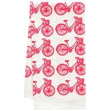Organic Bike All Over Pattern Block Print Tea Towel