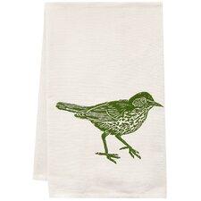 Organic Wood Thrush Block Print Tea Towel