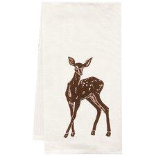 Organic Deer Block Print Tea Towel