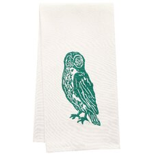 Organic Owl Block Print Tea Towel