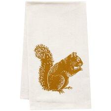 Organic Squirrel Block Print Tea Towel