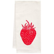 Organic Strawberry Block Print Tea Towel