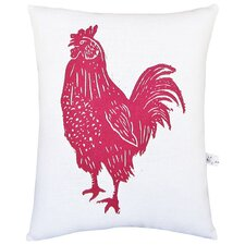 Rooster Block Print Squillow Accent Cotton Throw Pillow