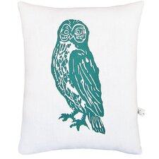 Owl Block Print Squillow Accent Cotton Throw Pillow