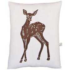 Deer Block Print Squillow Accent Cotton Throw Pillow