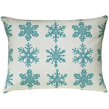 Snowflake All Over Pattern Block Print Accent Cotton Throw Pillow