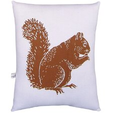 Squirrel Block Print Squillow Accent Cotton Throw Pillow