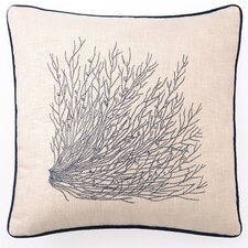 Embroidered Sea Grass Linen Throw Pillow