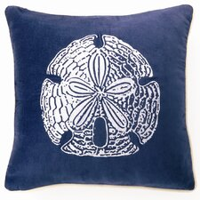 Embroidered Sand Dollar Linen Throw Pillow