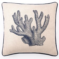 Embroidered Staghorn Coral Linen Throw Pillow