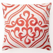 Embroidered Tile Linen Throw Pillow
