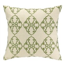 Filigree Embroidered Decorative Linen Throw Pillow