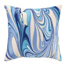 Marbled Madness Embroidered Decorative Linen Throw Pillow