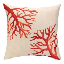Coral Reef Embroidered Decorative Linen Throw Pillow