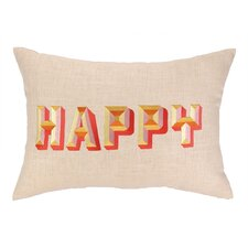 Happy Embroidered Decorative Linen Lumbar Pillow