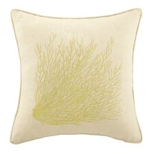 Sea Grass Embroidered Decorative Linen Throw Pillow