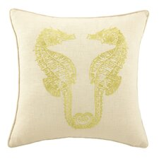 Sea Horses Embroidered Decorative Linen Throw Pillow