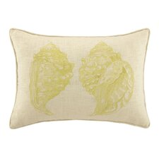 Double Conch Embroidered Decorative Linen Lumbar Pillow